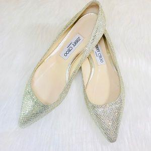 JimmyChoo Sparkling Silver Pointed Toe Ballerinas